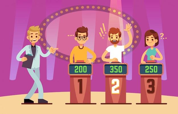 クイズゲームショーをプレイする賢い若者。漫画イラスト Premiumベクター
