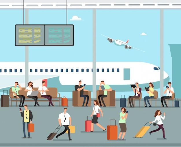 空港で荷物を持つビジネス人々ベクトル旅行コンセプト Premiumベクター