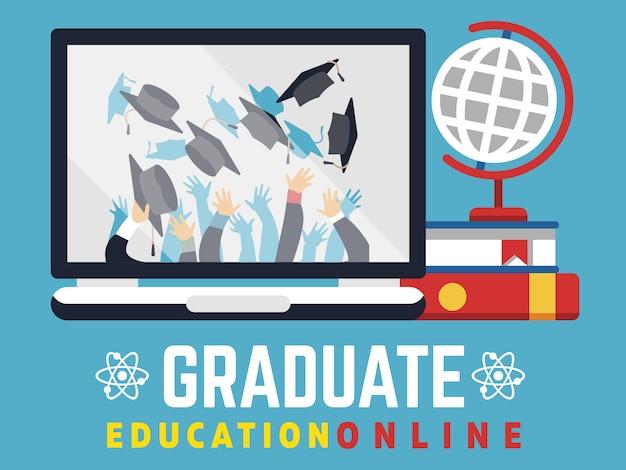 オンライン教育大学院フラットコンセプト Premiumベクター