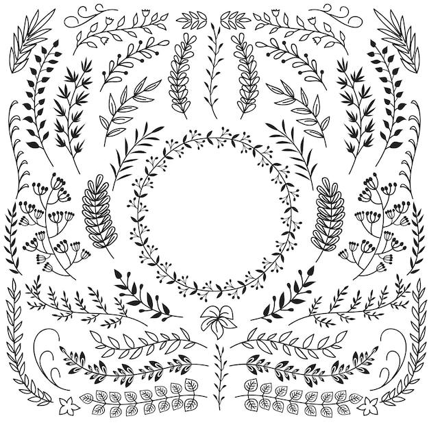 葉の装飾品で描かれた枝を手します。装飾的なフローラルリースボーダーフレーム。素朴な落書きベクトルを設定 Premiumベクター