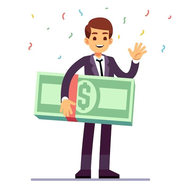 Счастливый подросток победитель, держа деньги долларов приз. лотерея, удача и казино азартные игры векторный концепт Premium векторы