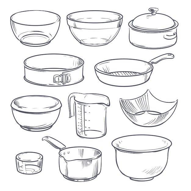 プラスチックとガラスのボウル、鍋、フライパンを落書き。分離されたヴィンテージ手描きベクトル調理器具 Premiumベクター