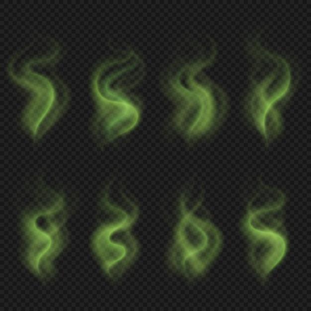 緑の悪臭の蒸気、有毒な悪臭の煙、汚れた男臭い悪臭ベクトルセット分離 Premiumベクター