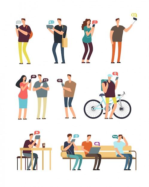 携帯電話、モバイルインターネット、スマートフォン中毒のベクトル概念を使用している人々。分離された漫画ベクトル文字 Premiumベクター