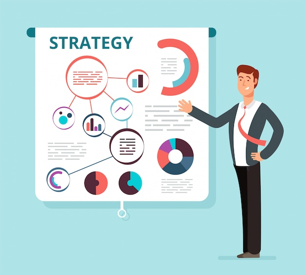 スピーカーのビジネスマンは、プロジェクター画面に成功した財務戦略計画を示しています。ビジネス会議、プレゼンテーション、セミナーベクトル概念 Premiumベクター