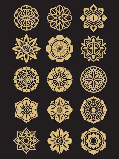 アジアの花セット分離。中国語または日本語の装飾要素 Premiumベクター