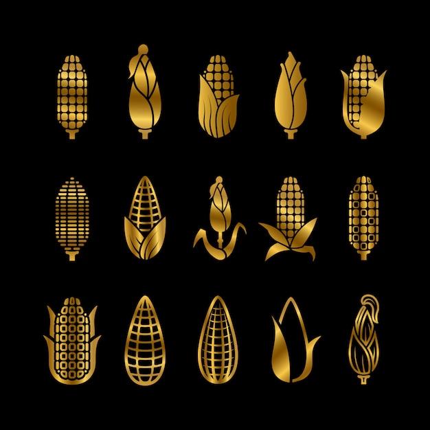 新鮮な黄金のトウモロコシ収穫セット Premiumベクター