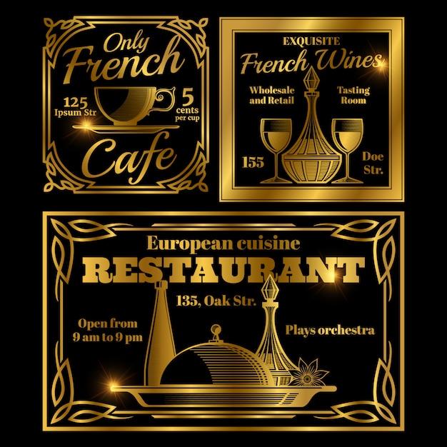 フランスとヨーロッパのカフェ、レストランラベルテンプレート Premiumベクター