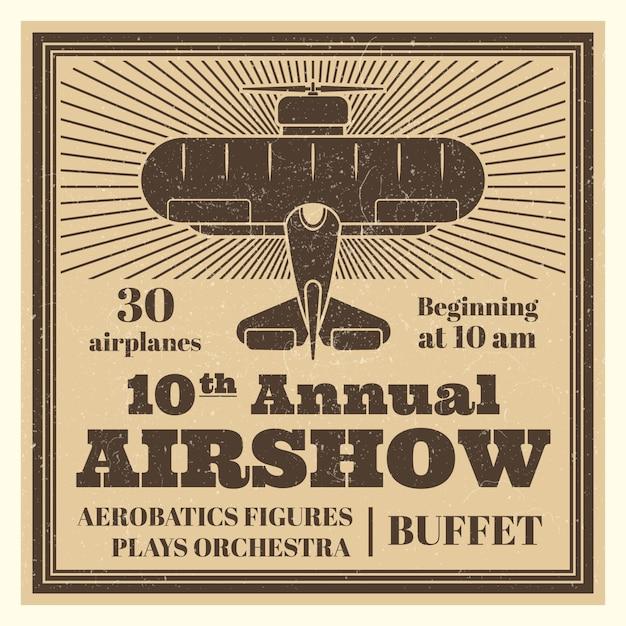 Шаблон плаката старинных авиашоу с самолета Premium векторы