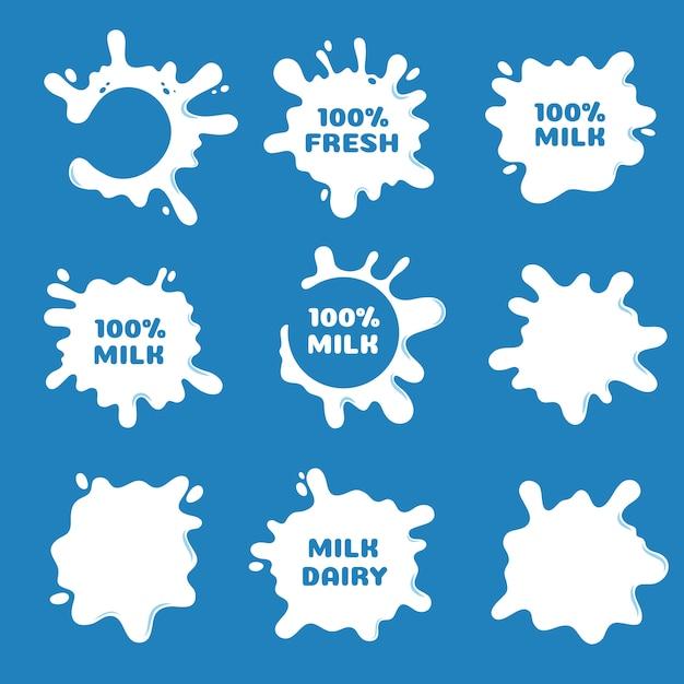 Белое молоко, йогурт и сливки всплеск и блот формы. натуральные молочные продукты вектор этикетки изолированные Premium векторы