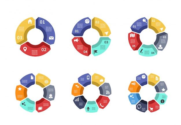 サークルインフォグラフィック、グラフ、図、プロセスワークフローテンプレート。オプション、部品、手順を含むビジネスプレゼンテーション Premiumベクター