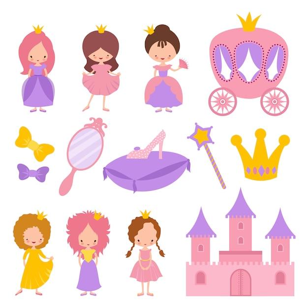 Милая маленькая принцесса с элементами короны и сказки Premium векторы