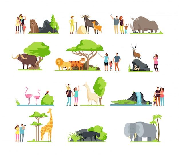 Счастливые семьи, дети с родителями и дикие животные зоопарка в парке дикой природы. Premium векторы