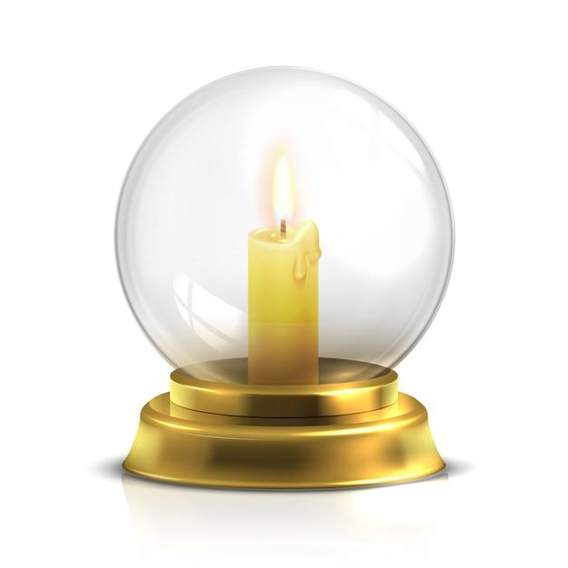 白で隔離される光キャンドルで現実的な魔法のボール Premiumベクター