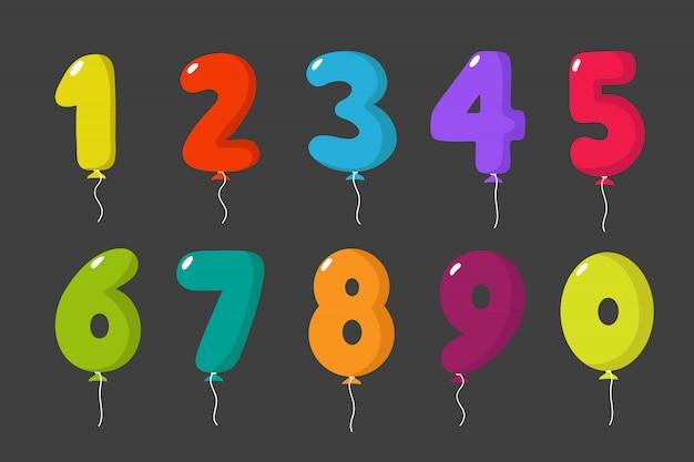 誕生日楽しい漫画パーティー番号子供パーティーお祝い招待状カードセット分離 Premiumベクター