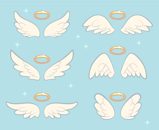 Крылья летящего ангела с золотым нимбом Premium векторы