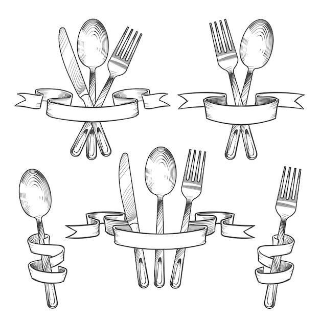 銀器、カトラリー、食卓用具 Premiumベクター