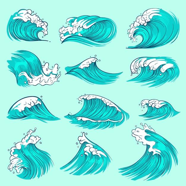 水しぶきとヴィンテージ手描き海青い波 Premiumベクター