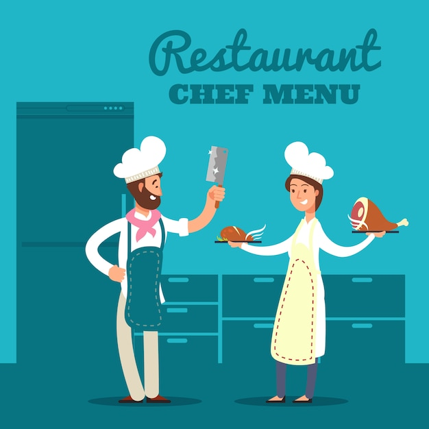 キッチンシルエットと漫画のシェフと料理のレストラン Premiumベクター