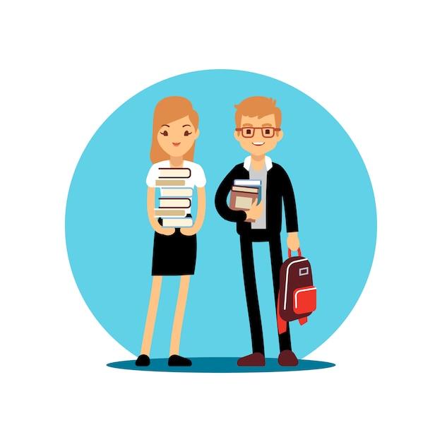 女の子と男の子の学生漫画のキャラクター Premiumベクター
