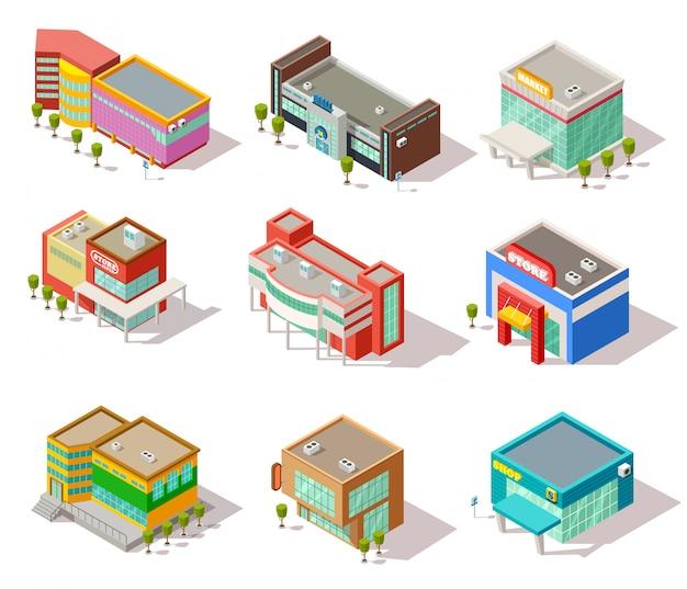 Изометрические здания торговых центров, магазинов, магазинов и супермаркетов Premium векторы