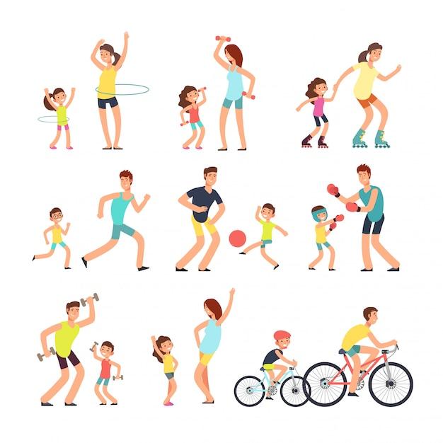 幸せなスポーツ家族。お母さん、お父さんは屋外でスポーツ運動をしている子供たちと。 Premiumベクター