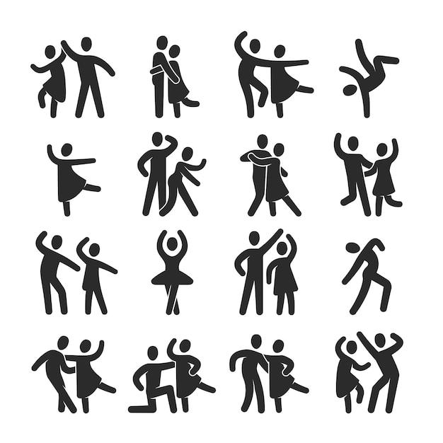 Счастливые танцующие люди иконки. символы силуэта современного танцевального класса Premium векторы