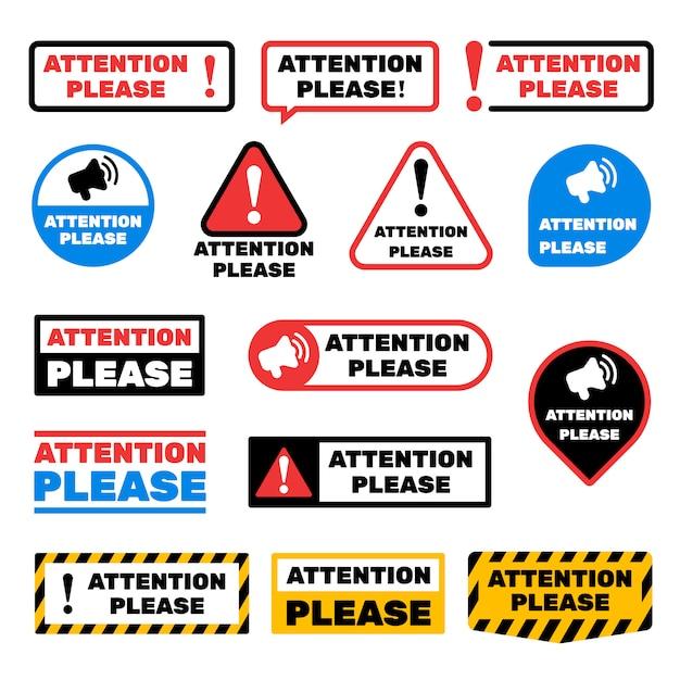 Внимание, пожалуйста, знаки сообщения. оповещение о важных информационных ярлыках Premium векторы