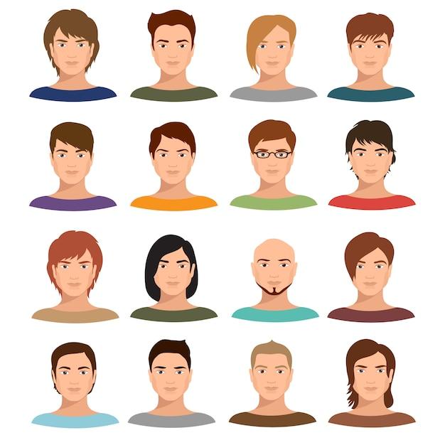 様々な髪型を持つ若い漫画男の肖像画。 Premiumベクター