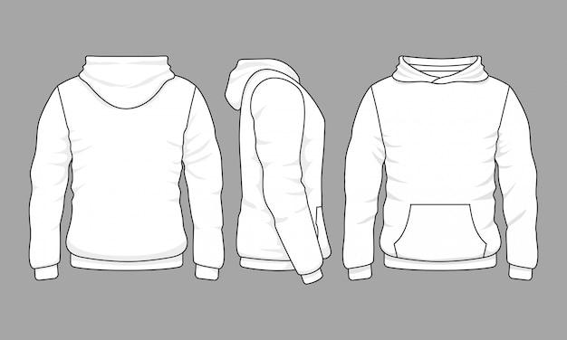 前面、背面、側面の男性パーカースウェットシャツ Premiumベクター