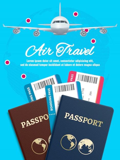 地球飛行機のパスポートとチケットの空の旅バナー Premiumベクター