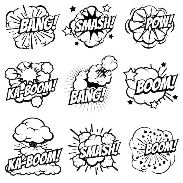Мультяшный взрыв иконки, комиксы взрыва пузыри, поп-арт большой взрыв и облака дыма бум набор Premium векторы