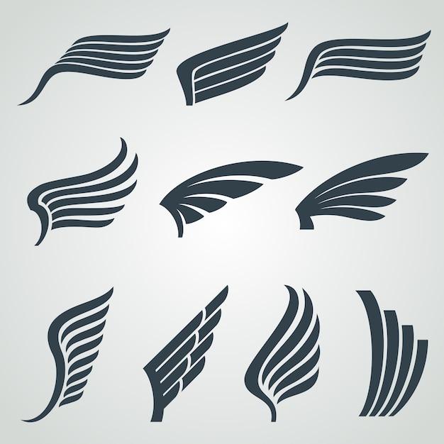 イーグルと天使の翼アイコン、分離された飛行紋章のシンボル Premiumベクター