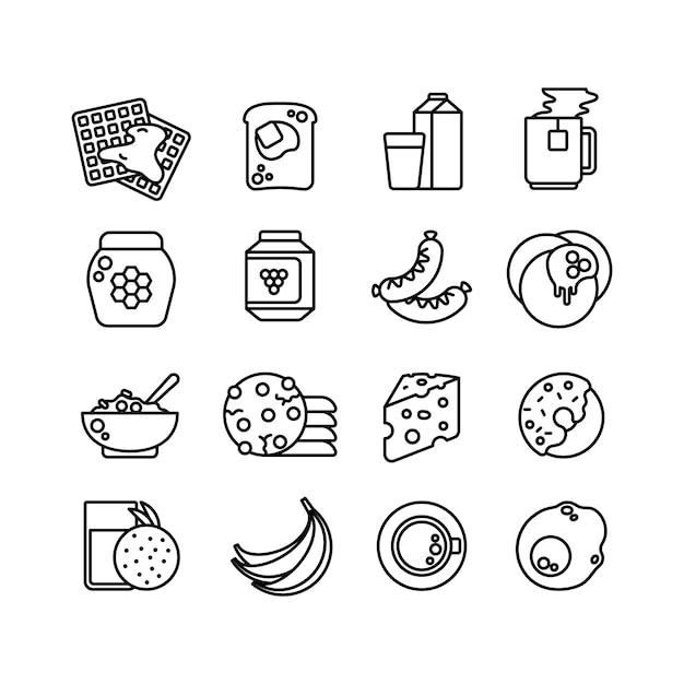 Иконки линии завтрак горячей еды Premium векторы