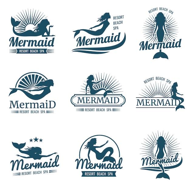 Русалка силуэт стилизованная коллекция логотипов Premium векторы