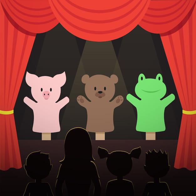 動物の俳優と子供の観客イラスト子供人形劇場パフォーマンス Premiumベクター
