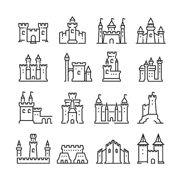 中世の城と古代の塔要塞線アイコン Premiumベクター