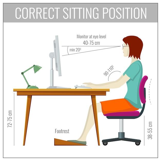コンピューター健康予防概念で正しい背骨座位姿勢 Premiumベクター