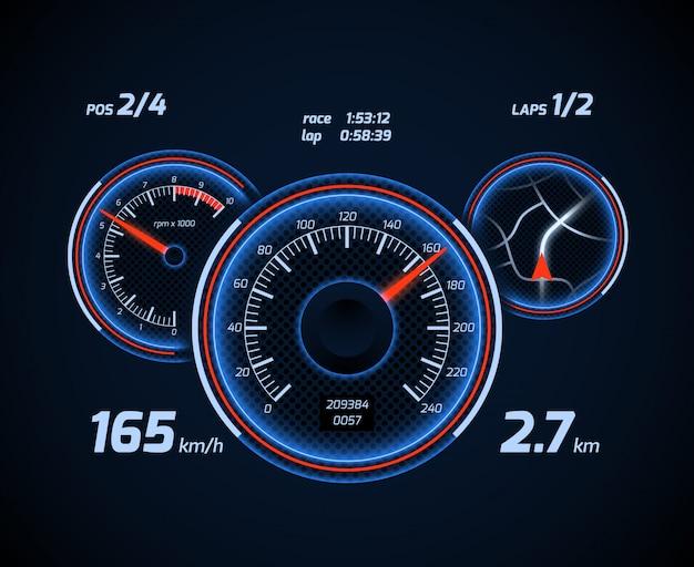 Интерфейс приборной панели компьютера и приложения для гоночного автомобиля Premium векторы