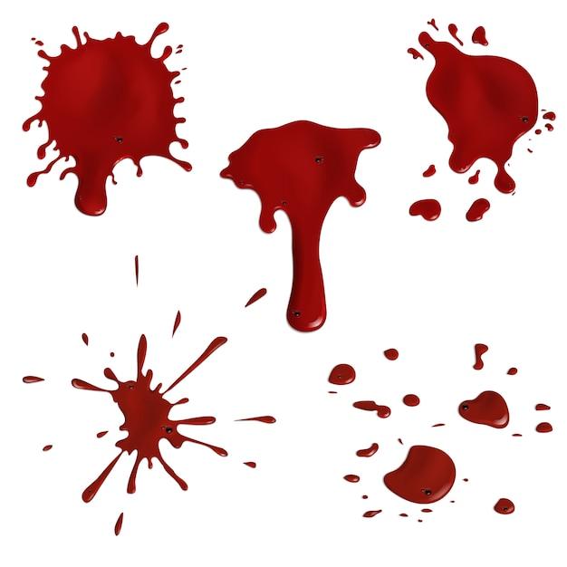 Реалистичные брызги крови и набор капель Premium векторы