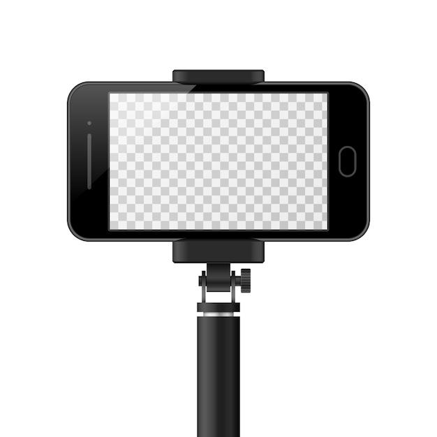 空の画面と一脚を持つスマートフォンテンプレート。 Premiumベクター