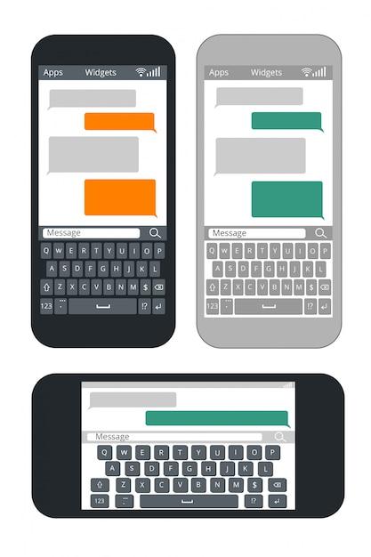 空白のテキストメッセージバブルとキーボードテンプレートを持つスマートフォン Premiumベクター