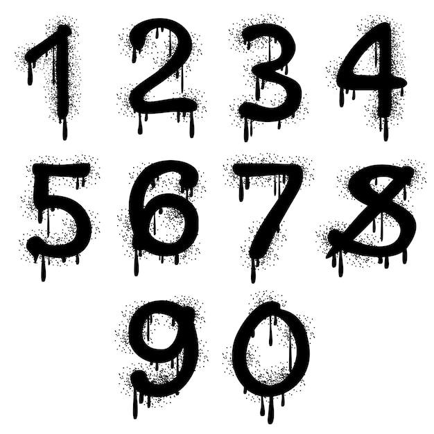 グランジの落書き番号 Premiumベクター