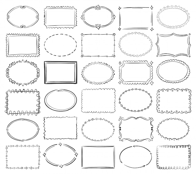 Коллекция рисованной рамки Premium векторы