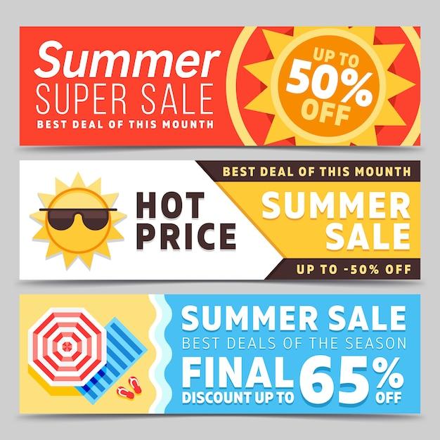 Супер распродажа летних баннеров Premium векторы