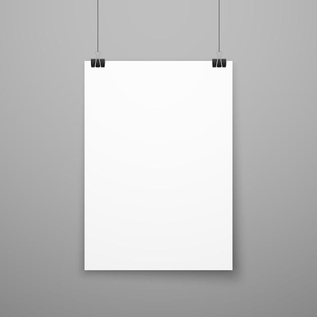 Реалистичные чистый лист белой бумаги плакат висит на стене Premium векторы