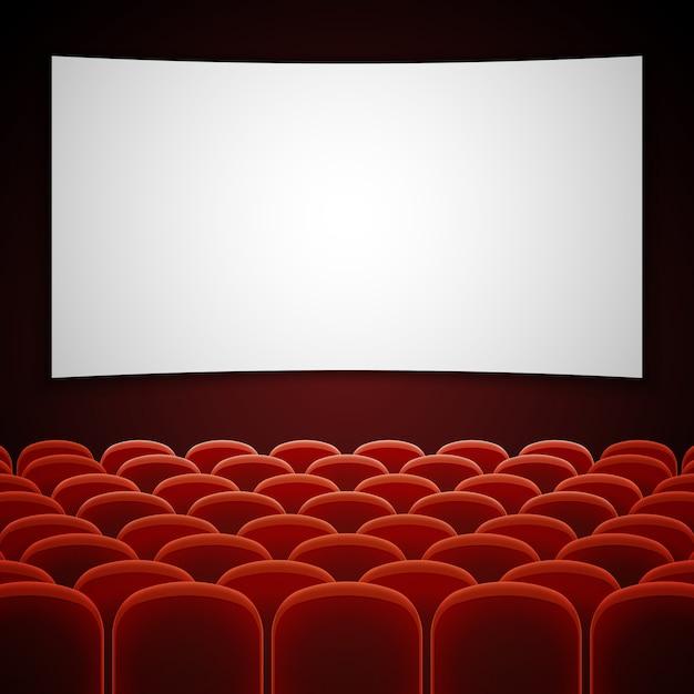 白い空白の画面を持つ映画館映画館。 Premiumベクター