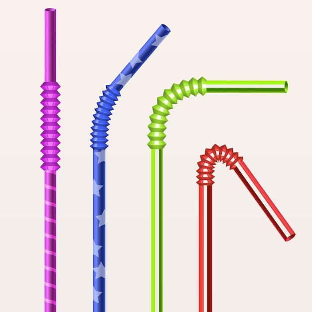 Набор красочных ярких трубочек Premium векторы
