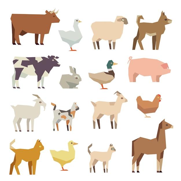 ペットや農場の動物のフラットアイコンセット Premiumベクター