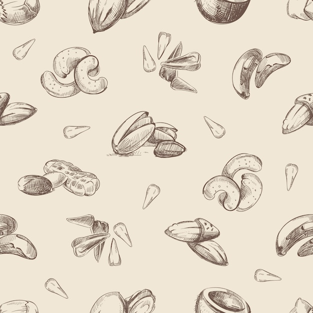 Орехи рисованной каракулей бесшовный фон Premium векторы